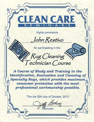 Rug Cleaning Technician Course