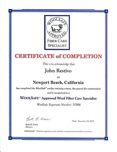 WoolSafe Approved Wool Fiber Care Specialist